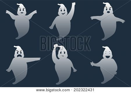 Ghost. A set of six ghosts different poses and emotions. Happy Halloween. Cartoon. Vector.