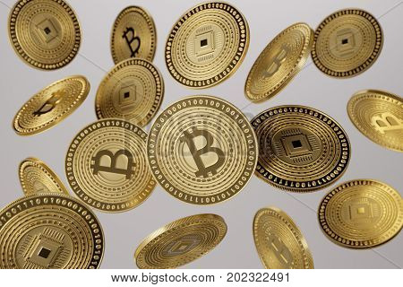 3D render close up of golden bitcoins tossed into the air as example for blockchain and crypto-currency concept
