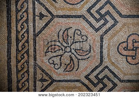 Brescia, Italy, 11 August 2017, Old Roman Floor Mosaic In Museum Of The Roman Ruins And Santa Giulia