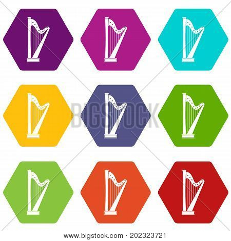 Harp icon set many color hexahedron isolated on white vector illustration