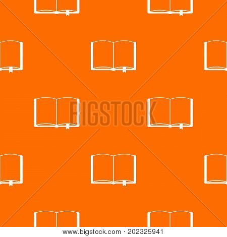 Open book with bookmark pattern repeat seamless in orange color for any design. Vector geometric illustration
