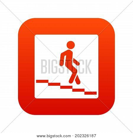 Underpass road sign icon digital red for any design isolated on white vector illustration