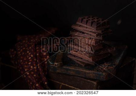 A Stack Of Chocolate Blocks, Dark Photo