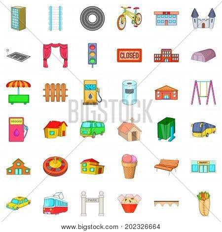 Street icons set. Cartoon style of 36 street vector icons for web isolated on white background
