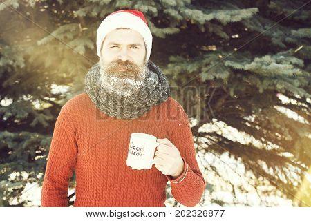 Serious Man In Santa Hat