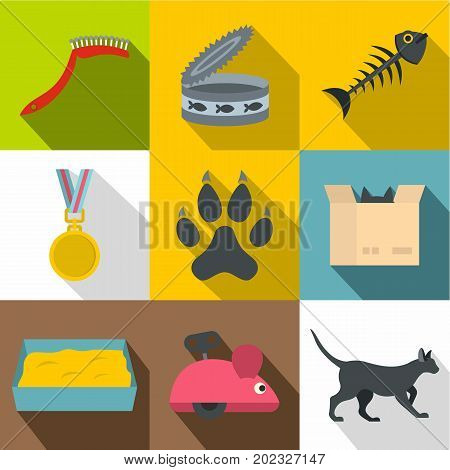 Cat house icon set. Flat style set of 9 cat house vector icons for web design