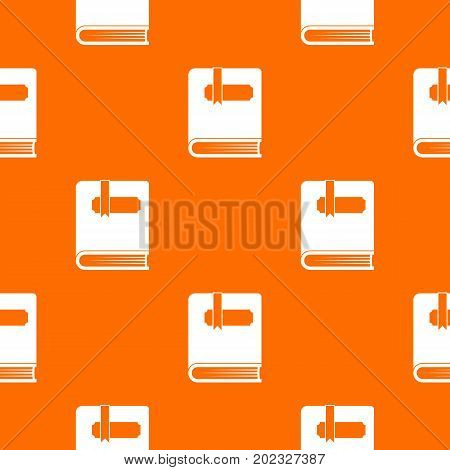 Thick book with bookmark pattern repeat seamless in orange color for any design. Vector geometric illustration