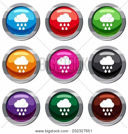 Cloud with rain drops set icon isolated on white. 9 icon collection vector illustration