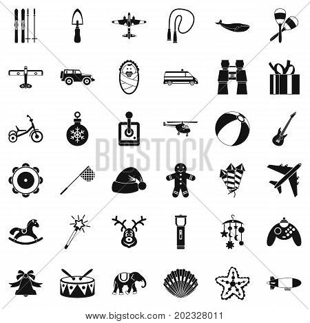 Drum icons set. Simple style of 36 drum vector icons for web isolated on white background