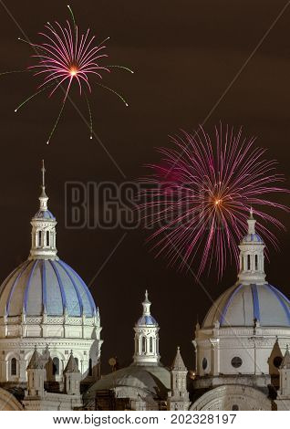 Fireworks In Cuenca, Ecuador