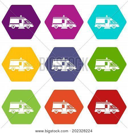 Ambulance icon set many color hexahedron isolated on white vector illustration