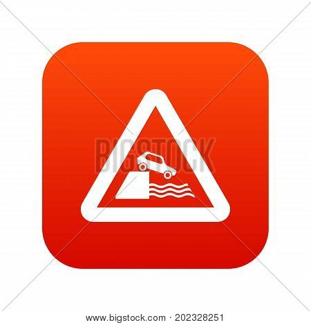 Riverbank traffic sign icon digital red for any design isolated on white vector illustration
