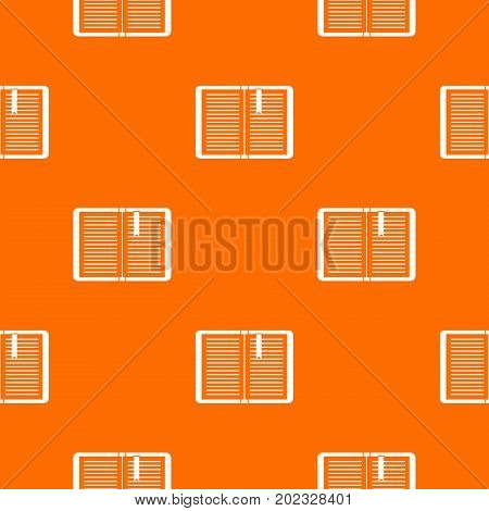 Open tutorial with bookmark pattern repeat seamless in orange color for any design. Vector geometric illustration