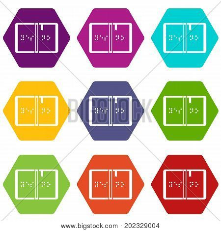 Braille icon set many color hexahedron isolated on white vector illustration