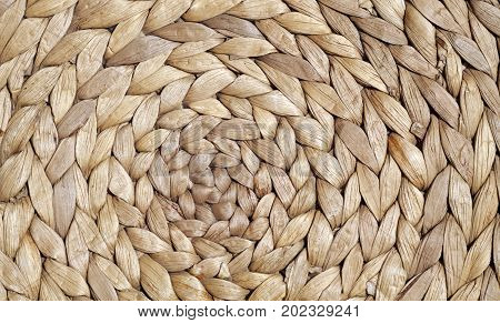 Natural Color Straw Mat Surface With Round Pattern.