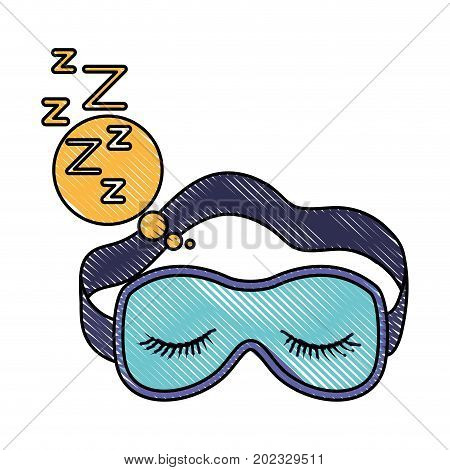 sleep mask with snoring sign in bubble callout in color crayon silhouette on white background vector illustration