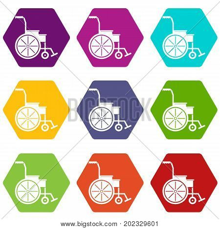 Wheelchair icon set many color hexahedron isolated on white vector illustration