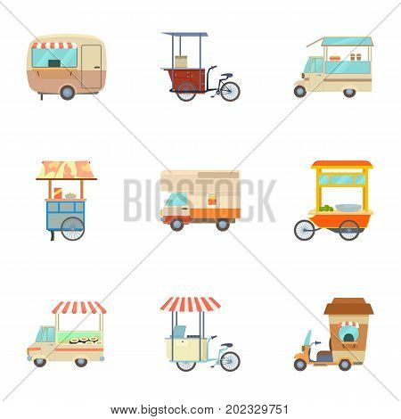 Food vehicle icons set. Cartoon set of 9 food vehicle vector icons for web isolated on white background