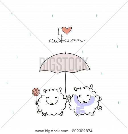 Two funny sheep under an umbrella with a handwritten inscription