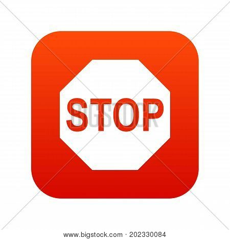 Stop sign icon digital red for any design isolated on white vector illustration
