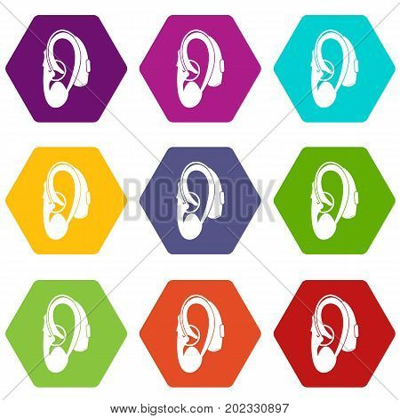 Hearing aid icon set many color hexahedron isolated on white vector illustration