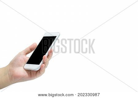 Girl Left Hand Holding Mobile Phone. Isolated With White Background.
