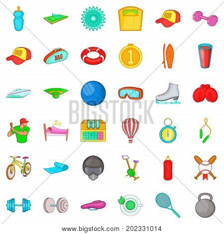Treadmill icons set. Cartoon style of 36 treadmill vector icons for web isolated on white background