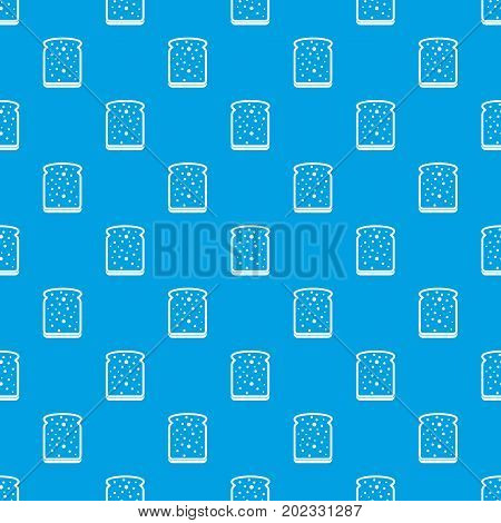 Slice of white bread pattern repeat seamless in blue color for any design. Vector geometric illustration