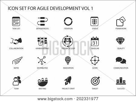 Agile software development vector icon set as flat design