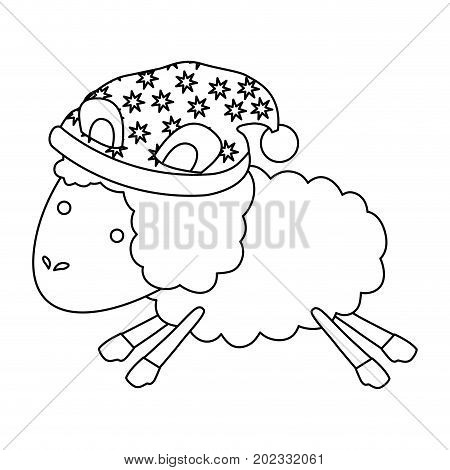 sheep animal with sleeping cap jumping sketch silhouette on white background vector illustration