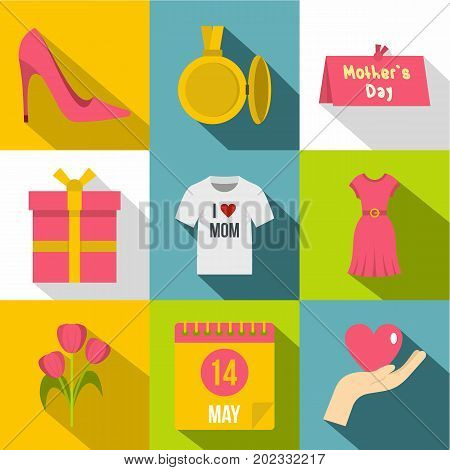 Mom day icon set. Flat style set of 9 mom day vector icons for web design