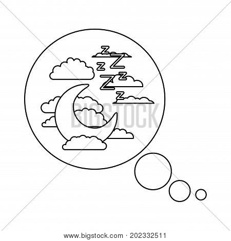 bubble call out with night landscape and snoring sign sketch silhouette on white background vector illustration