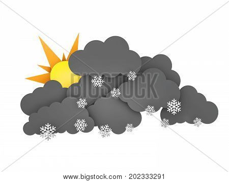 Sun and Rainclouds with Snowflakes on white background. 3d illustration.