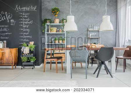 Family Table And Chalkboard Accents