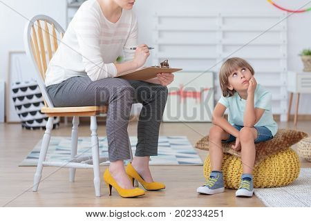 Autistic Boy During Psychotherapy Consultation