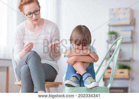 Worried Autistic Boy And Psychiatrist
