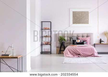 Modern Bedroom With Copper Accessories
