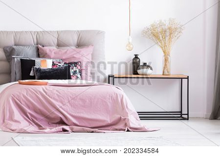 Pastel Pink Bedroom With Flowers