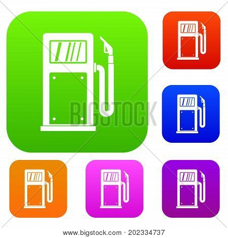 Gasoline pump set icon in different colors isolated vector illustration. Premium collection