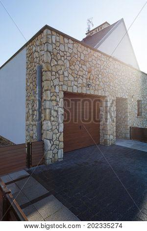 Garage Driveway On Sunny Day