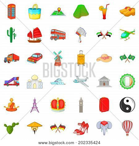 Museum icons set. Cartoon style of 36 museum vector icons for web isolated on white background