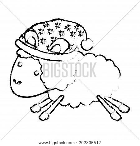 sheep animal with sleeping cap jumping blurred silhouette on white background vector illustration