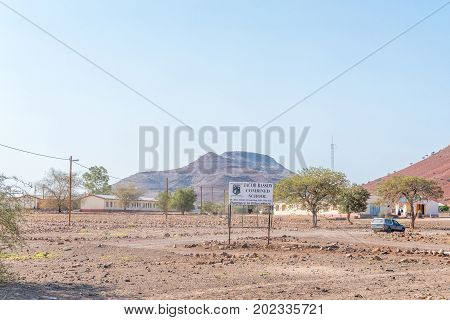 BERGSIG NAMIBIA - JUNE 28 2017: The Jacob Basson Combined School in Bergsig a small village in the Kunene Region of Namibia