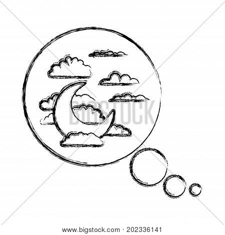 bubble call out with night landscape and snoring sign blurred silhouette on white background vector illustration