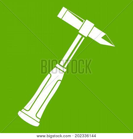 Hammer slag of welder icon white isolated on green background. Vector illustration