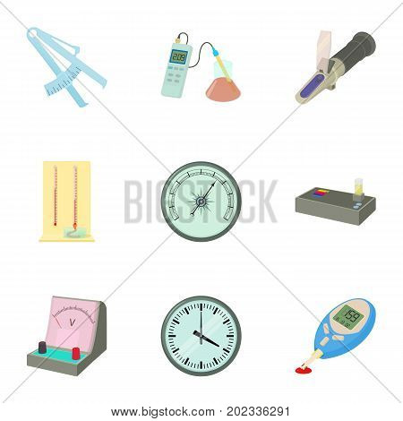 Precision instrument icons set. Cartoon set of 9 precision instrument vector icons for web isolated on white background