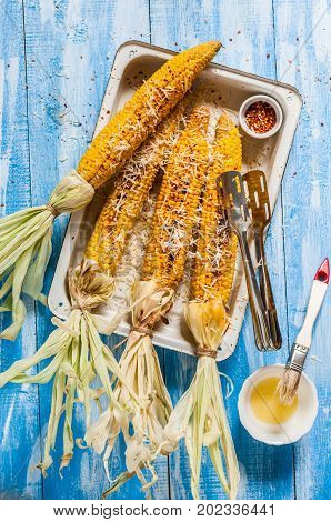 Grilled Corn With Chili Amd Cheese