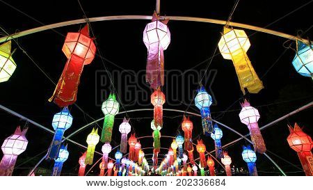 Thailand culture Loikrathong lantern Candle twilight time Festival. Show of respect and worship. Including a color to work well : Festival in Chaing Mai Thailand