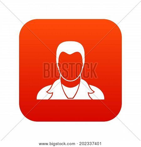 User icon digital red for any design isolated on white vector illustration
