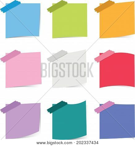 Colorful sticky notepaper on white background - Illustration